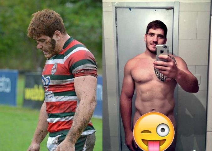 Hard rugby player cocks