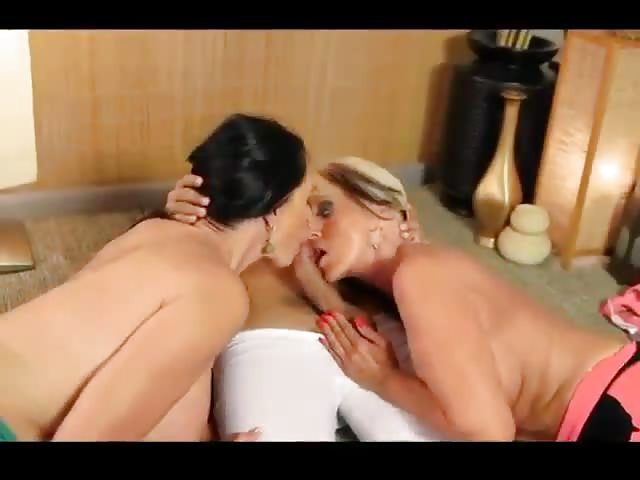 Two mature women with one cock